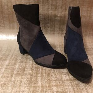 color block boots.